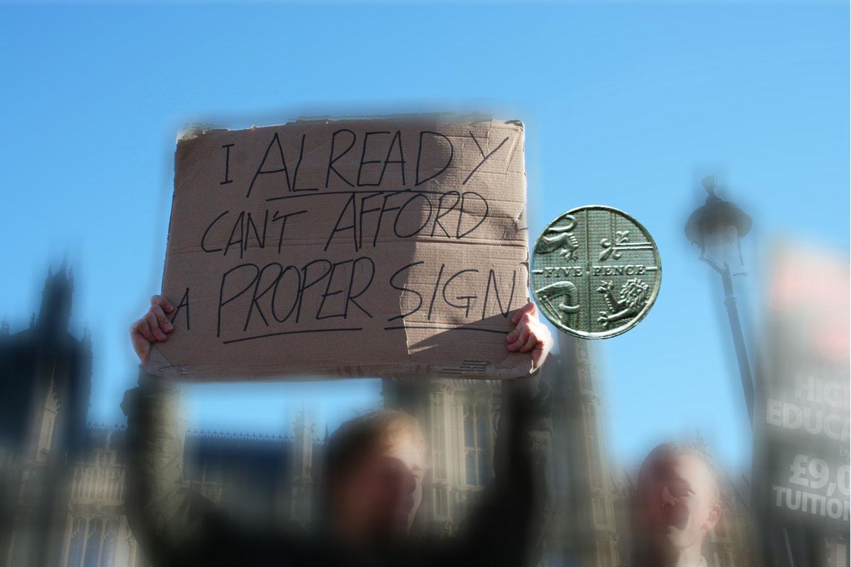 i can't afford a proper sign 5p